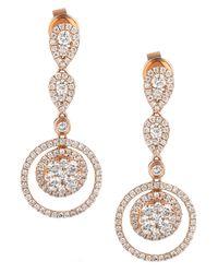 Le Vian Pink Diamond Diamond Double-circle Drop Earrings (1-3/8 Ct. T.w.) In 14k Rose Gold