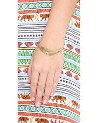 Sunahara - Metallic Feather Wrap Bangle Bracelet - Gold - Lyst