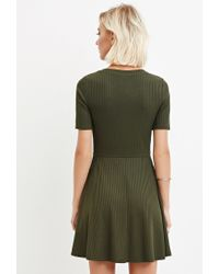 Forever 21 | Green Ribbed Knit Skater Dress | Lyst