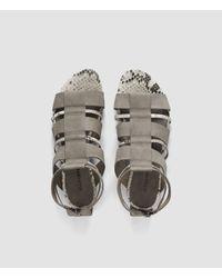 AllSaints - Gray Phoenix Sandal - Lyst