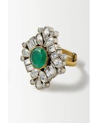 Anthropologie - Green Garnet Deco Ring - Lyst