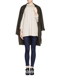 Armani - White Ruched Neck Rib Stripe Sweater - Lyst