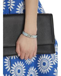 COACH - Pale Blue Leather And Gold Plated Bangle - Lyst