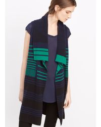 VINCE | Black Graphic Stripe Asymmetric Drape Vest | Lyst