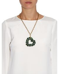 Lanvin - Metallic Emerald Heart Pendant Necklace - Lyst