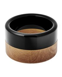 Michael Kors - Black Two-tone Wide Cuff Bracelet - Lyst