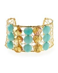 Panacea - Green Agate & Crystal Adjustable Cuff - Lyst