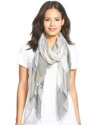 Eileen Fisher - Metallic Stripe Organic Cotton Scarf - Lyst