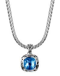 John Hardy Batu Classic Chain London Blue Topaz Pendant Necklace for men