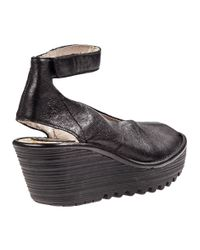 Fly London | Yala Wedge Sandal Black Leather | Lyst
