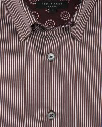 Ted Baker | Brown Satin Striped Shirt for Men | Lyst