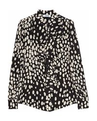 Boutique Moschino Black Leopard Print Ruffle Blouse