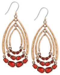 Lucky Brand | Gold-tone Red Stone Multi-hoop Earrings | Lyst