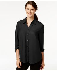 G.H. Bass & Co. | Black Solid Woven Button-down Shirt | Lyst