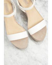 Forever 21 - Natural Faux Suede Flatform Sandals - Lyst
