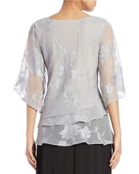 Alex Evenings Gray Plus Tiered Floral Blouse