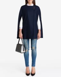 Ted Baker | Blue Minimalist Metal Clasp Cape | Lyst