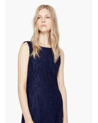 Mango | Blue Lace Trim Dress | Lyst