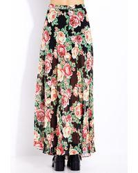 Forever 21 - Red Sweet Rose Maxi Skirt - Lyst