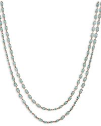 Lucky Brand Metallic Gold-tone Turquoise Stone Two-row Strand Necklace