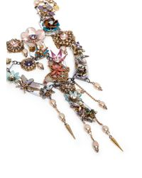 Erickson Beamon | Multicolor 'iron Butterfly' Pearlescent Appliqué Faux Pearl Plunge Necklace | Lyst