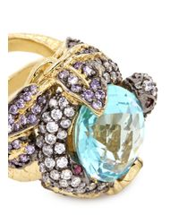 Anabela Chan Multicolor 'serpent & Vine' 18k Gold Solitaire Topaz Cocktail Ring