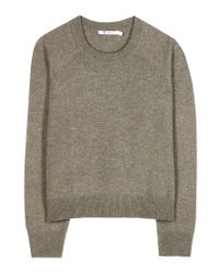 T By Alexander Wang Green Wool And Cashmere Cropped Sweater