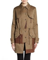 Thakoon Addition | Brown Leathertrimmed Trenchcoat | Lyst