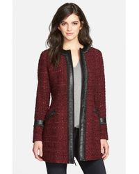 Laundry by Shelli Segal | Purple Ribbon Trim Tweed Coat | Lyst