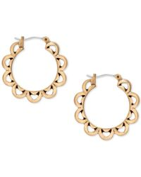 Lucky Brand | Metallic Gold-tone Floral Hoop Earrings | Lyst