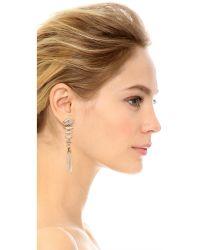 Elizabeth Cole | Metallic Crystal Linear Drop Earrings | Lyst