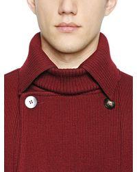 Iceberg Red Wool Knit & Neoprene Peacoat for men