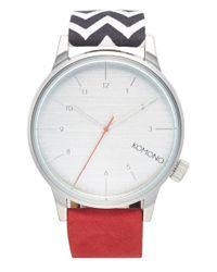 Komono - Metallic 'winston Galore' Round Leather & Canvas Strap Watch for Men - Lyst