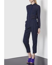 Emporio Armani - Blue Ankle-Length Trousers In Silk Crêpe De Chine - Lyst