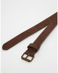 ASOS - Skinny Belt In Brown Faux Leather for Men - Lyst