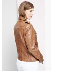 Violeta by Mango Brown Leather Biker Jacket
