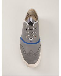 Paul Smith | Gray Brogue Detailed Sneaker Contrast Blue and Beige Rais for Men | Lyst