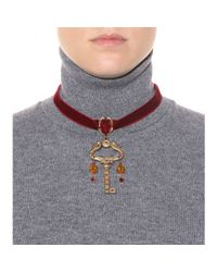 Dolce & Gabbana Red Crystal-Embellished Velvet Choker