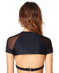 Nasty Gal Black Chromat Uniform Top