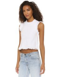 T By Alexander Wang - White Frayed Sleeveless Crop Top - Lyst