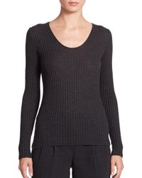 Akris   Gray Cashmere & Silk Ribbed Pullover   Lyst