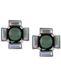 Vince Camuto | Metallic Silver-tone Black Imitation Pearl And Baguette Stud Earrings | Lyst