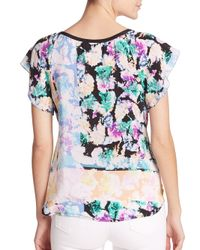 Nanette Lepore - Multicolor Wildflower Printed Silk Blouse - Lyst