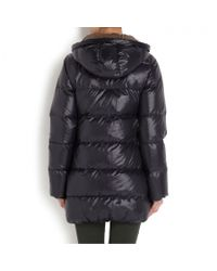 Duvetica Black Kappa Fur Trimmed Padded Shell Coat