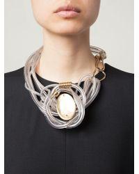 Giorgio Armani Metallic Plexiglass Tube Necklace