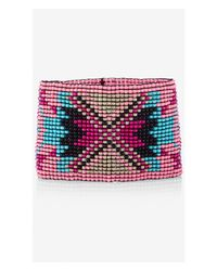 Express - Multicolor Seed Bead Stretch Cuff Bracelet - Lyst