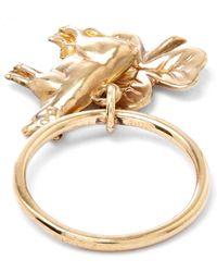 Annina Vogel Metallic Gold Cow Shamrock Charm Ring