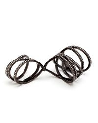 Repossi 18K Black Gold And Diamond Double Ring