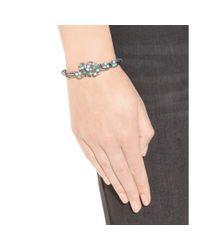 Bottega Veneta - Green Embellished Silver Bracelet - Lyst