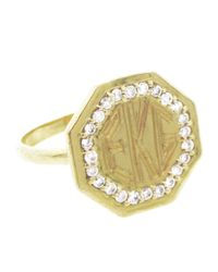 Emily & Ashley | Metallic Octagon Signet Ring With Diamonds | Lyst